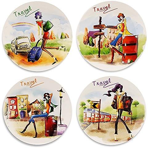 mallvoler aprobado por la FDA cerámica platos llanos, 8pulgadas, juego de 4