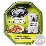 Cesar Set 24 Vaschetta 150 gr. umido patè pollo/cuore di verdure