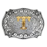 FYX Herren Gürtelschnalle Buchstabe mit echter Goldauflage Western Buckle A~Z (T)