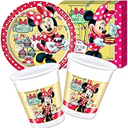36 tlg. Party-Set * MINNIE CAFE * mit 8 Pappteller + 20 Servietten + 8 Becher + Deko von DISNEY // Teller Essen Kinder Kindergarten Schule Geschirr Kindergeschirr Kindergeburtstag Party Deko Dekoration Kinderparty Mädchen Kind rund Einweg Kinderfest Pink Rosa Girls Minnie Mouse Minni Maus