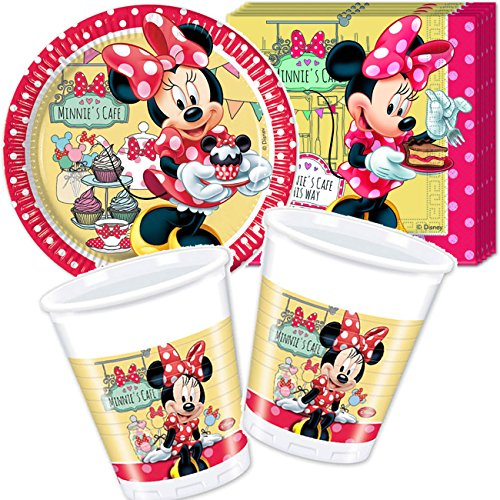 MINNIE CAFE * mit 8 Pappteller + 20 Servietten + 8 Becher + Deko von DISNEY // Teller Essen Kinder Kindergarten Schule Geschirr Kindergeschirr Kindergeburtstag Party Deko Dekoration Kinderparty Mädchen Kind rund Einweg Kinderfest Pink Rosa Girls Minnie Mouse Minni Maus (Rosa Minnie Maus Dekoration)