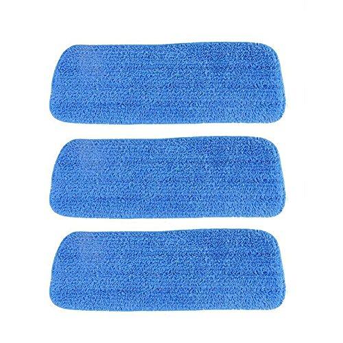 arthomer Wiederverwendbare Putzpads, Flachwischer Kopf 3PCS, abwaschbare Wischmop Pads, Flache Ersatzköpfe zur Reinigung und Wiederherstellung von Böden blau
