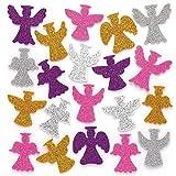 Baker Ross Adesivi Glitterati con Angeli (Pacco da 100) Lavoretti Decorativi di Natale per Bambini.