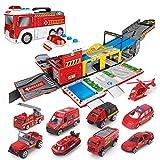 Mogicry Montaje de camiones de bomberos grandes Coches de juguete Coche de bomberos Parking Vehículo Vehicular Juegos de pistas Juguetes Modelos de regalo Conjuntos de juegos de vehículos para niños 3