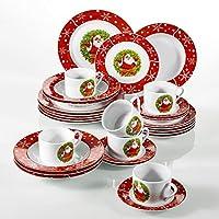 VEWEET, Serie SANTACLAUS, 30 Piezas vajillas de Porcelana, 6 Tazas 6 platillos 6 Platos de Sopa 6 Plato de Comida 6 Platos de Postre vajilla de Navidad para 6 Persona …