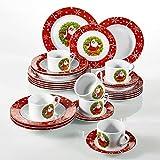 VEWEET, Serie SANTACLAUS, servizio da tavola in porcellana,30 pezzi, , 6 tazzine 6 piattini, 6 piatti da dessert, 6 piatti piatti e 6 piatti da zuppa, stoviglie di Natale per 6 persone