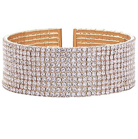 BABEYOND Damen Armband 1-5 Reihen Diamante Armreif Strass Stretch Tennis Armband Clear CZ Kristall Armband Cuff Set Elastische Braut Hochzeit Armband für Braut (10 Row-Gold)