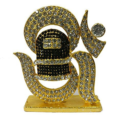 Hindu god idols | Hindu god statues | Hindu god stone statues | Car accessories god idols | Religious idols | Om Statue Golden Finished With Jerkin Diamonds  available at amazon for Rs.285