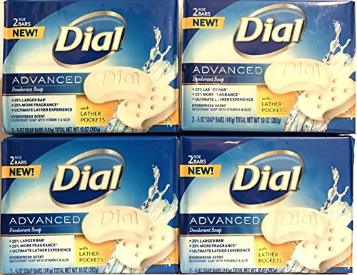 Dial Erweiterte Bar Soap - Hydrofresh Scent - mit Vitamin E & Aloe - 2 Count Bars pro Packung (5 OZ Pro Bar) - Packung mit 4