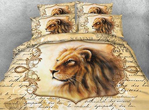 LifeisPerfect JF 354 Vintage Style Lion Gedruckt Bettdecke Bettwäsche 5 Pcs Tiere Bett in Einem Beutel Queen Size (Queen-size-bett In Einem Beutel)