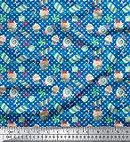Soimoi Blau Baumwolle Ente Stoff Herz & Süßigkeiten