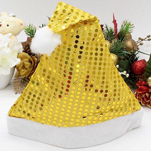 wachsene Weihnachtsmann Kappe Weihnachten Kostüm Hut Pailletten (Erdmännchen Kostüme Für Erwachsene)