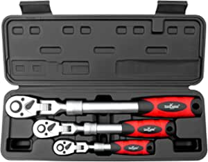 Ratschenringmaulschl/üssel Set 8-19mm aus CR-V Stahl in Industriequalit/ät mit polierter Chromoberfl/äche Gelenk-Ratschenschl/üsselsatz Jetech 10-tlg