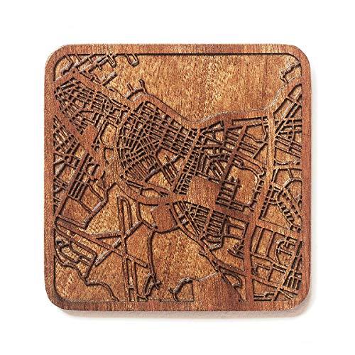 Reykjavik Map Untersetzer von O3 Design Studio, 1 Stück, Sapeli-Holz-Untersetzer mit Stadtkarte, mehrere Stadt optional, handgefertigt