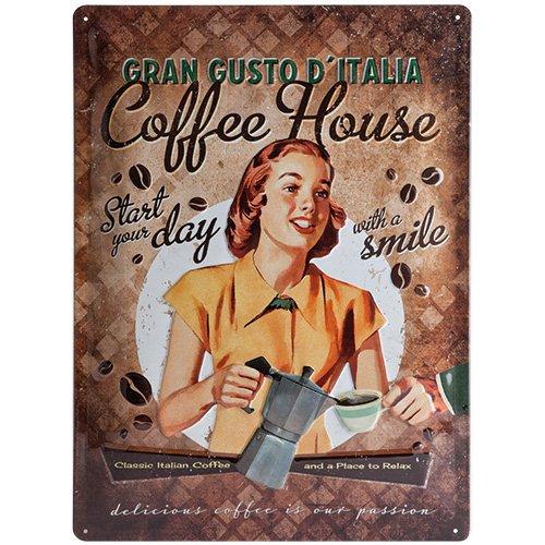 Nostalgic-Art 23161 Coffee und Chocolate House Lady, Blechschild, 30 x 40 cm
