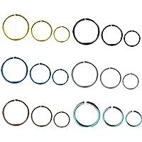 Liuxn 18 Pezzi 20 Gauge Anello in Acciaio Inossidabile Naso Orecchino Cerchi per Piercing del Corpo, 6 Colori, 3…