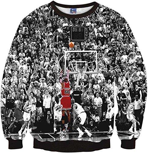 Pizoff Unisex Hip Hop Sweatshirts mit 3D Digital Print 3D Muster Jordan Basketball Jumper - Jordan T-shirt