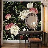 HUANGYAHUI Wandbilder Tv Hintergrund Tapete Im Wohnzimmer Schlafzimmer Tapete Dunkel Gedruckt - Farbige Blumen Auf Den Wandmalereien