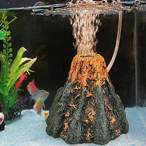 TAOtTAO Acquario Vulcano Shape & Air Bubble Pietra Ossigeno Pompa Fish Tank Ornament Decor