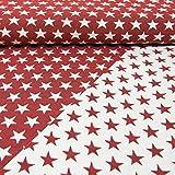 Gobelinstoff Sterne 2-seitig verwendbar rot Canvasstoff Doubleface - Preis Gilt für 0,5 Meter -