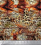 Soimoi Orange Baumwolle Batist Stoff Leopard & Tiger Tierhaut Dekor Stoff gedruckt 1 Meter 42 Zoll breit