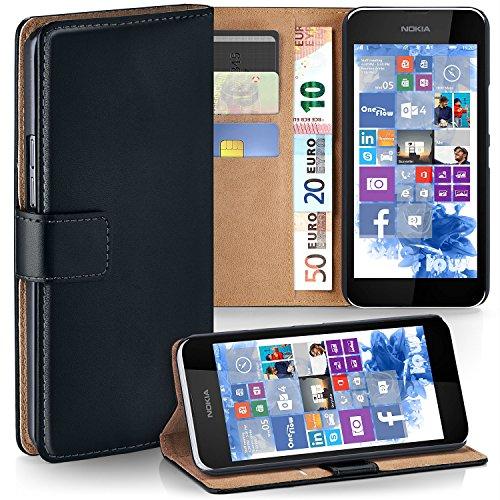 moex Nokia Lumia 530 | Hülle Schwarz mit Karten-Fach 360° Book Klapp-Hülle Handytasche Kunst-Leder Handyhülle für Nokia Lumia 530 Dual SIM Case Flip Cover Schutzhülle Tasche