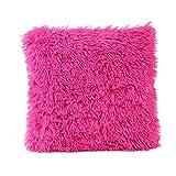 Xmiral Kissenbezüge Plüsch Sofakissen Einfarbig Zierkissenbezüge Pillowcase(Rosa Rot)