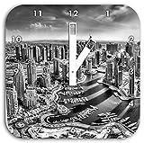Monocrome, Dubai Hotel Burj al Arab, Wanduhr Durchmesser 28cm mit weißen eckigen Zeigern und Ziffernblatt, Dekoartikel, Designuhr, Aluverbund sehr schön für Wohnzimmer, Kinderzimmer, Arbeitszimmer