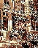 WEIMEING Dipingi per Numero Kit, Dipinto Ad Olio Fai da Te Disegno Donna in Sella A Una Bicicletta Tela con Pennelli Decorazioni Decorazioni Regali - 40X50 CM Frameless