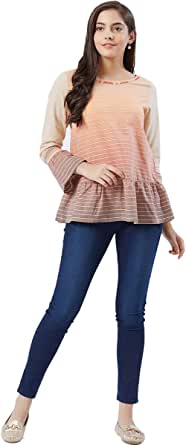 Fusion Beats Women Blush Stripes Cotton Top