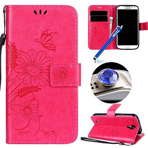 Etsue Kompatibel mit Samsung Galaxy S4 Handyhülle Lederhülle Leder Tache Retro Schmetterling Blumen Muster Brieftasche Schutzhülle Flip Wallet Cover Handytasche Klapphülle mit Kartenfächer,Hot Pink Hot Versteckte Video
