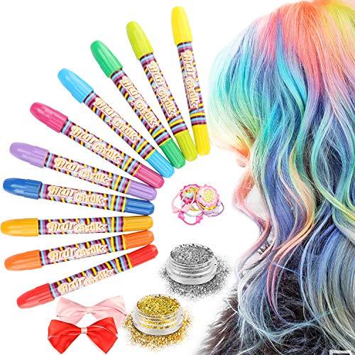 Haarkreide, Magicfun 10 Farbe Natürliche Haare Kreide Stifte Temporäre Haarfarbe Auswaschbar für Kinder Mädchen Haarfärbekreiden Set Perfektes Geschenk für Karneval Weihnachten Geburtstag