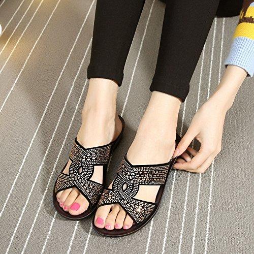 ZPPZZP Ms sandali pantofole trapano artificiale spessa di mezza età e anziani 36EU oro 40EU