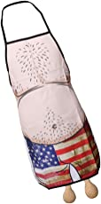FNT Funny Apron Hairy Men in USA Flag Shorts Design BBQ Kitchen Cooking Apron
