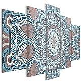decomonkey | Bilder Mandala 100x50 cm | 5 Teilig | Leinwandbilder | Bilder | Vlies Leinwand | Bilder | Wand | Bild auf Leinwand | Wandbild | Kunstdruck | Wanddeko | Modern Abstrakt Orient braun blau | DKA0232a5S