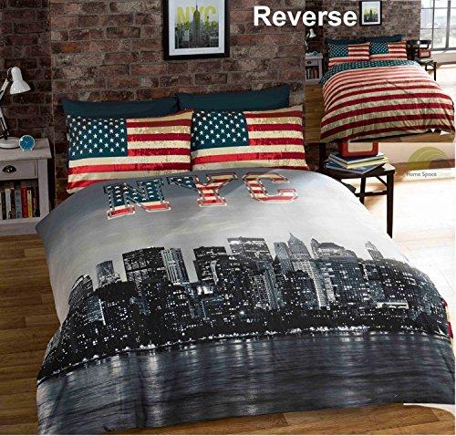 Bedding Heaven Wende-Bettwäsche New York City Skyline / amerikanische Flagge, Fotoaufdruck, wendbar