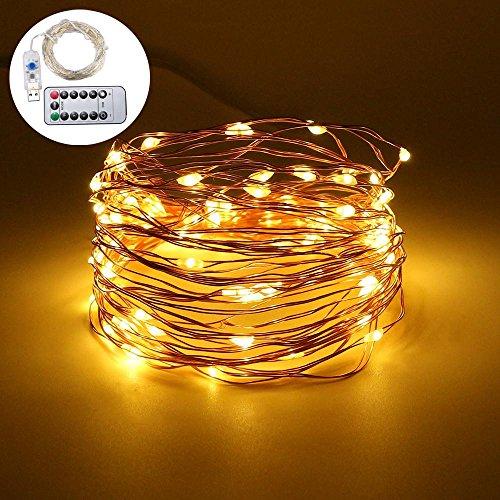 Aolvo Lichterketten Indoor und Outdoor 10 Mt / 33ft 100 LEDs über USB mit Fernbedienung für Weihnachten Schlafzimmer Garten Party Hochzeit Dekoration (wasserdicht)