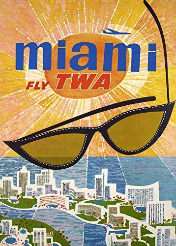 Vintage Travel America für Miami mit TWA AIRLINES 250gsm, Hochglanz, A3, vervielfältigtes Poster America Airlines