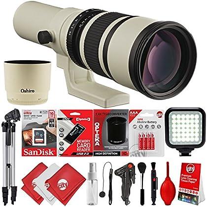 Oshiro 500 mm/1000 mm f/6.3 Super Telephoto Wild Life lente para Canon EOS 80D, 77D, 70D, 60D, 7D, 6D, 5D, 7D Mark II, T7i, T6s, T6i, T6, T5i, T5, SL1 y SL2 cámaras réflex digitales