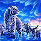 Twuky 5D DIY Diamond Set Full Diamond Diamond Painting Living Room Wall Stickers,tiger(12X12inch/30X30CM)