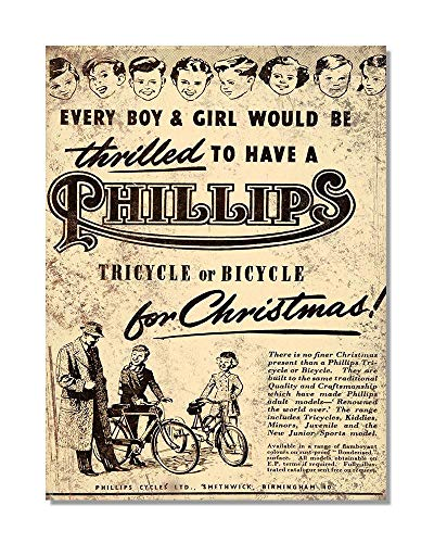 Funky NE Ltd J0433 Wand-Poster Thrilled to Have a Phillips Dreirad oder Fahrrad for Christmas, Reproduktion von 1954, Metall, Large