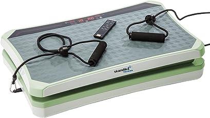 skandika 900 Vibration Plate,SF-1740, designstarke Vibrationsplatte mit starkem 200 Watt DC Motor 18 Geschwindigkeitsstufen, mit LC Bildschirm, Fernbedienung und verstellbaren Trainingsgurten