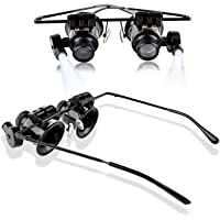 VP STORES® Professional Watch Repair Appraisal Magnifier Eyewear Loupe Glasses 20X with LED for Mechanical Processing, Electronic Repair, Jewelry Appraisal, Timepieces Repair and Miniature Engraving