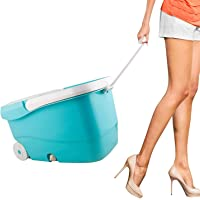 Sasimo 360 Degree Spin Bucket Mop with 2 Refills- Super Absorbent Refills for All Type of Floors, 180 Degree Bendable Handle, for Perfect Cleaning with Steel Jali and Big Wheels (Blue, 2 Refills)