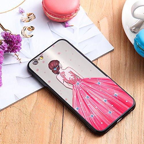 Coque pour iPhone 6,iPhone 6S étui, ETSUE Solidité Housse en PC Case pour iPhone 6/6S, Ultra-mince Noir Fond avec Belle Joli Fille Beauté Coloré Motif de Relief, Girl Femme Coque en Rêve, Housse en Ro Joli Fille 12#