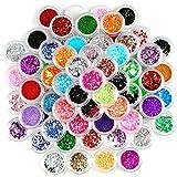 80 Dosen Farben Nail Glitter Flitter Glitter Palette Mix Set von Fraeulein38