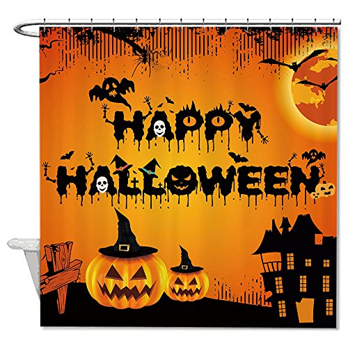 warrantyll Happy Halloween Kürbisse Polyester Duschvorhang wasserdicht 182,9 x 182,9 cm (Halloween-tag Trick Happy Or Treat)