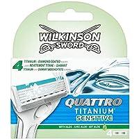 Wilkinson Sword - RICARICHE QUATTRO TITANIUM SENSITIVE - - Pack 4 lame per uomo