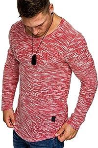 Amaci&Sons Oversize Vintage Herren Pullover Hoodie Sweatshirt Crew-Neck 6024 Rot M