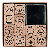 Rico Design timbro set Animal Faces, legno, natura